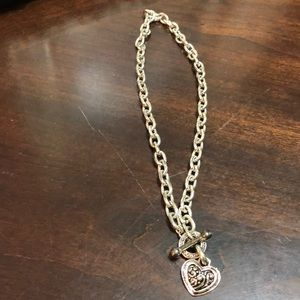 Silver Chain Necklace with Heart Shape Design